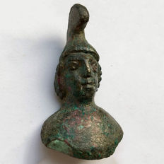 Ancient Roman Bronze Helmeted bust of Mars- the God of war / 42mm.