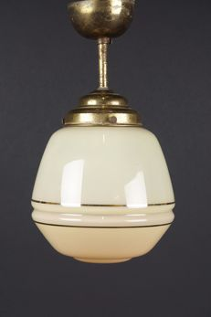 Art Deco lamp-yellow opaline glass shade on a copper plated armature