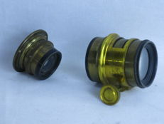 Lot of two brass lenses: C.P. GOERZ and Ben. Finch & Co. Boston.