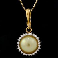 14kt gold pendant set with South Sea golden pearl 9.6mm  **no reserve price**