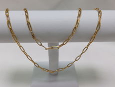18 kt gold large necklace. Forzet type links - 77 cm.