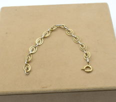 Yellow and white gold  14 k bracelet - 19 cm