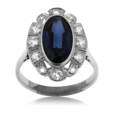 Antique Diamond and Unidentified Blue Stone 'Entourage' Ring, large size