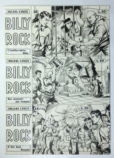 "Angiolini, Sandro - 3x cover orig. ""Billy Rock"" nn. 22, 23, 24 (1959)"