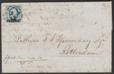 The Netherlands 1852 – Postal Item with NVPH 1c, Plate I, 5 Cents, Steel Blue With Inspection Certificate