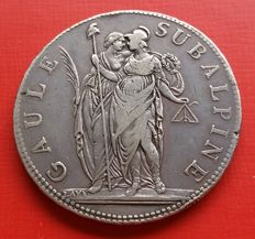 Subalpine Republic – 5 Francs – AN 9 1800/01 – Silver