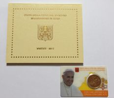"Vatican – year collection 2017 + 50 cent 2017 ""Papal Coat of Arms"" in coincard."