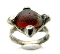Saxon Era Silver Ring with Dark Orange Stone - 18mm
