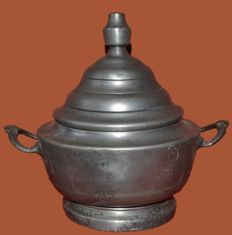 Large pewter tureen with  two decorated handles - France - circa 1850