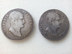 "France – 5 Francs ""An XI-A Paris"" and ""An 12-Q Perpignan (1803/1804)"" – ""Bonaparte Premier Consul"" (first consul) – Silver"