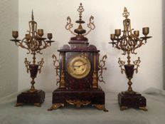 France marble table clock set - Japy Freres