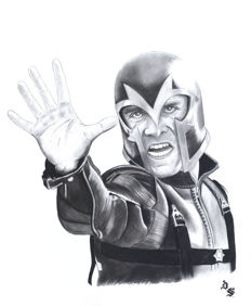 Septiembre, Diego - Original charcoal and graphite drawing - Magneto