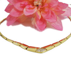 Golden necklace with Pave-set Diamonds-18K Yellow gold - Length 40 cm. - Weight 25.90 grams