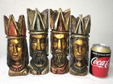 Handmade large wooden chess pieces - 24 cm!
