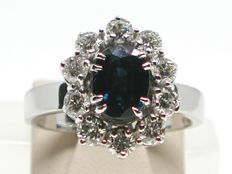 Vintage diamond & sapphire engagement ring total: 4,00ct.