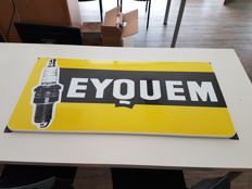 Enamelled advertising sign of EYQUEM spark plug - 60s