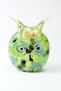 "Livio Campanella (Campanella Glassworks) - ""Owl Head"" Sculpture"