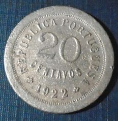 Portugal - 20 centavos, 1922 - Very rare in any condition