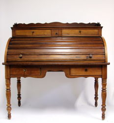 Mahogany roller shutter desk - the Netherlands - late 19th century