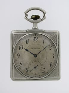 Graziosa Square Open Face Pocket Watch  Swiss 1930