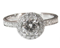 Diamond Engagement Ring 0.85 ct - Halo design -  - Size: 8.5 US size (Free resizing)