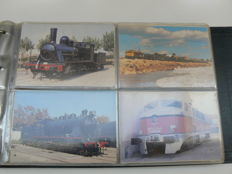 Spain - France - Germany -USA - Train postcards, 300x, in album.