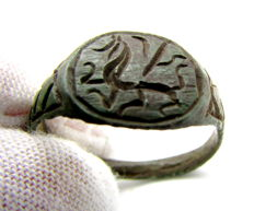 Viking Bronze Seal Ring with Dragon Fafnir Motif - 18mm