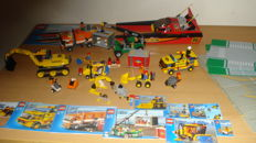 City - 10 sets including 7244 + 7992 - Speedboat + Container Stacker + 10 street -/ space plates