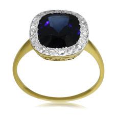 Antique Diamond and Synthetic Sapphire 'Entourage' Ring, as new.