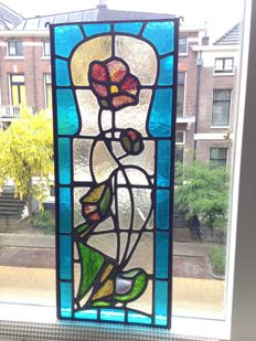 Magnificent old Jugendstil with soft colours stained glass with mosaic window (suncatcher) from around 1890
