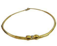 Golden necklace with accent Diamonds 18K Yellow gold - Diameter size 12.50 cm. - Weight 18.20 Gram