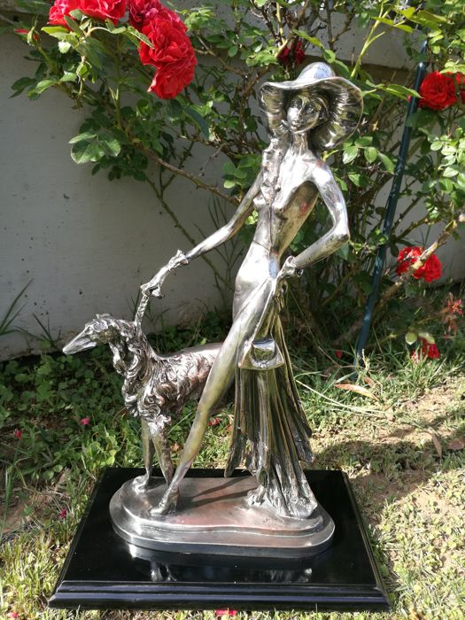 Amilcare Santini- Italy - Silver sculpture, marked 800.