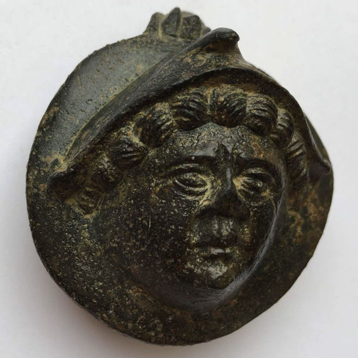 Ancient Roman Bronze Aplique: helmeted Head of Minerva. - 57mm / 50mm.