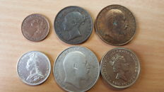 United Kingdom - Farthing up to and including 2 Pounds 1854/1989 (6 different)