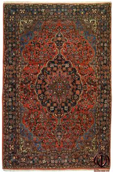 VERY ANTIQUE, authentic Persian SAROKH AMERIKANO – Rare, original and exceptional rug – Iran, 1900-1920 – Dimensions: 205 x 135 cm – With Certificate of Authenticity – (Galleria Farah 1970)