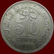 Ceylon - 50 Cents 1913 - George V - Silver