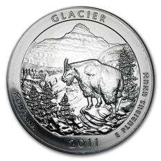 USA - US Mint - America The Beautiful - Glacier National Park 2011 - Große 5 oz 999 Silber Silbermünze