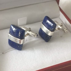 925 Silver cuff links with Rectangular Lapis Lazuli Cabochon