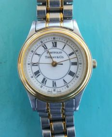 Authentic Tiffany & Co Portfolio Ladies Quartz Watch of 1990s in Good Condition