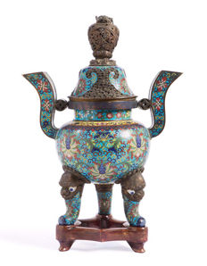 Incense burner in bronze and cloisonné enamel - China - 19th century