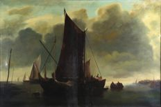 C. Vries, sailing ships and people on open water, oil on canvas - 19th century