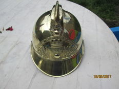 superb firefighter helmet 1895 in brass complete