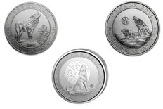 Canada -3 x 2 $ - 3 pieces 999 silver coins grey wolf / Howling Wolf 2015 + 2016 + 2017 - complete series -