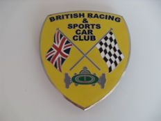 "Official radiator grille badge - ""British racing & sports car club"" - 8 x 9 cm"