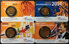 Netherlands – 10 cent 2012, 2014, 2016 'Lucky dime' + 50 cent 2017 'King Willem-Alexander' in Coin cards