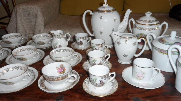 assorted lot of limoges chauvigny veritable porcelaine p l france demitasse cups saucers. Black Bedroom Furniture Sets. Home Design Ideas