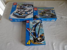 World City / 4 Juniors - 7033 + 7045 + 7072 - Armored Car Action + Hovercraft Hideout + Captain Kragg's Pirate Boat