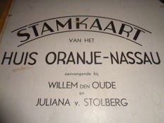 Old school poster / school Stamkaart of the House of Orange-Nassau, beginning with Willem den Oude (1487-1559) and Juliana van Stolberg (1506-1580)