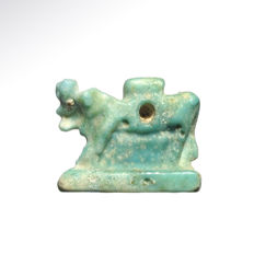 Egyptian Turquoise Faience Amulet of the Apis Bull, 1.7 cm L