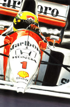 Ayrton Senna McLaren Honda MP4/7 A Monaco 1992 F1 Car ORIGINAL Oil Painting on Canvas hand-made by Artist Andrea Del Pesco + COA.